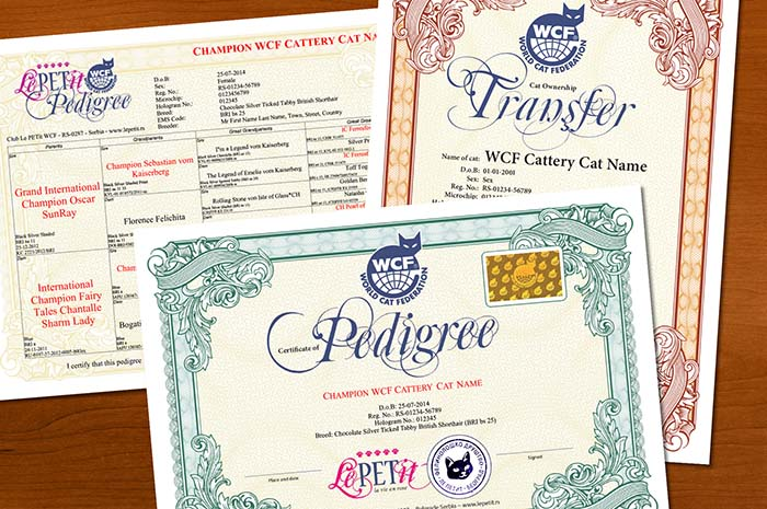 WCF Pedigree and Transfer certificates